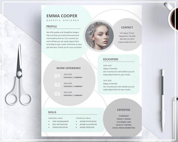 Resume CV Template- Mint Green