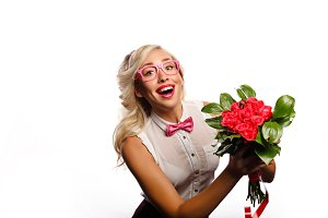 Lovely teacher with flowers
