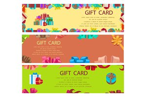 Gift Card Colourful Poster with Frames and Boxes