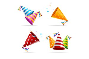 Party Hat Color Set. Vector
