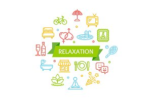 Relaxation Rest Time Color Icons