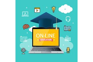 Education Online Concept. Vector
