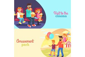 Visit to Cinema and Park with Father Poster Vector