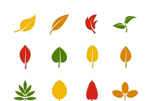 Set of leaf color icons