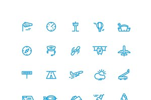 Aviation and airport icons set