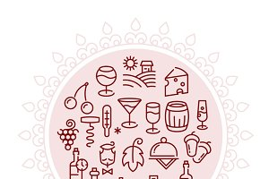 Wine vector logo with linear icons