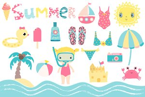 Summer beach holiday clipart set