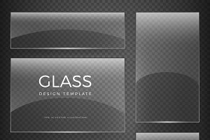 Transparent vector glass banners