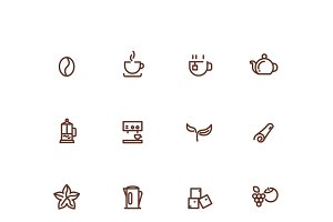 Coffee and tea line vector icons