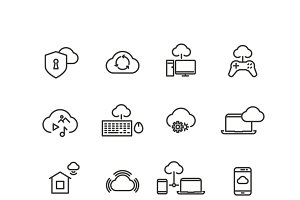 Cloud computing line vector icons