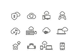 Cloud computing line vector icons