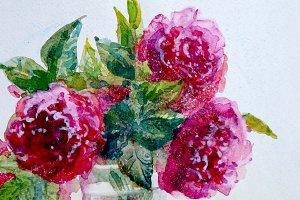 Watercolor wild rose