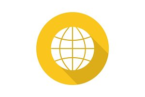 Globe flat design long shadow glyph icon