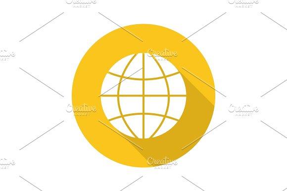 Globe Flat Design Long Shadow Glyph Icon