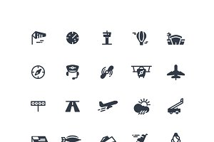 Airplanes and flight vector icons