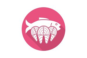 Seafood flat design long shadow glyph icon