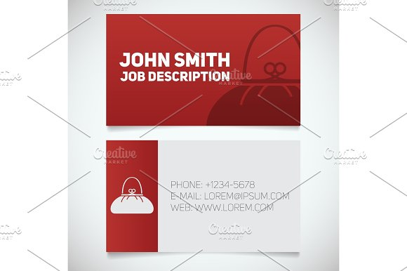 Business Card Print Template With Purse Logo