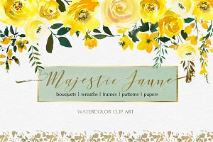 Majestic Jaune Watercolor Florals