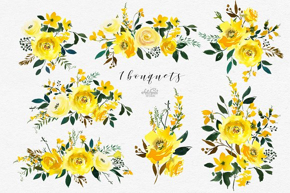 Watercolor flowers yellow. Majestic jaune florals