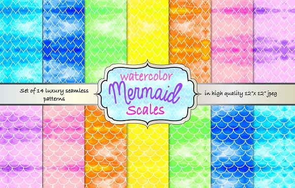 Mermaid Scales Rainbow Pattern Pack