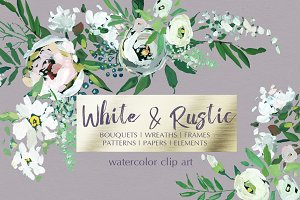 White Hand Painted Floral Clip Art