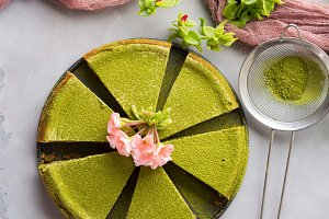 Matcha cheese cake and flowers