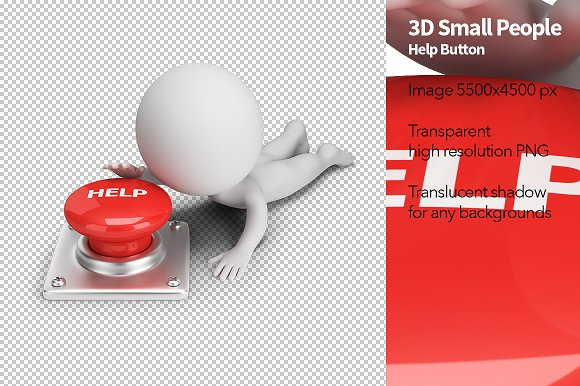 3D Small People Help Button