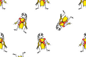 Pencil Drawing Scarecrows Seamless Pattern Design