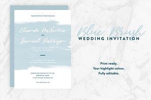 Wedding Invite - Blue Brush