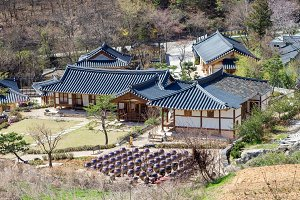 Kimchi pots in front of traditional Korean houses at Wanju county, South Korea