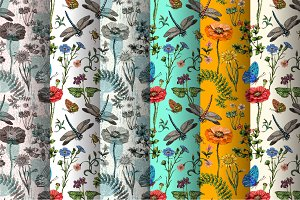 6 Seamless patterns in vintage style