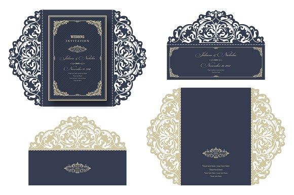 wedding invitation laser cut invitation templates creative market