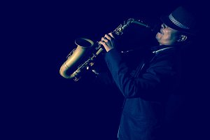 A saxophone player