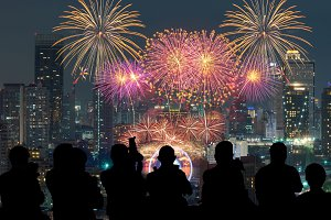 Colorful fireworks with bangkok
