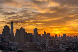 Bangkok cityscape at sunrise time