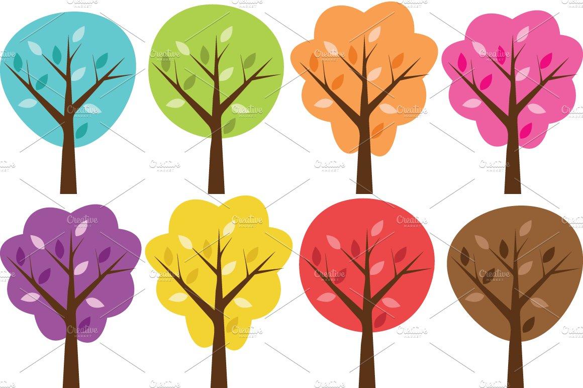 Colorful Clip Art Trees Set Illustrations Creative Market