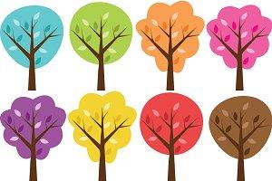 Colorful Clip Art Trees Set