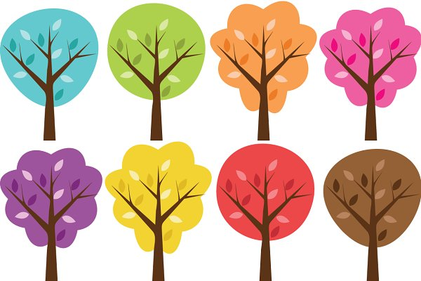 Colorful Clip Art Trees Set