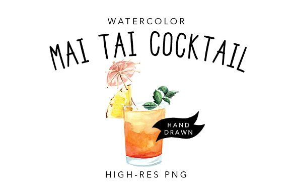 Watercolour Pineapple Cocktail