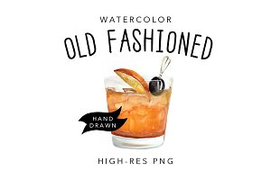 Watercolor Old Fashioned Cocktail