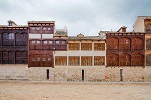 Medieval houses in Peñafiel, Spain.