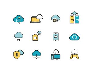 Internet security line vector icons