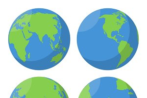 Flat Earth globe vector icons set