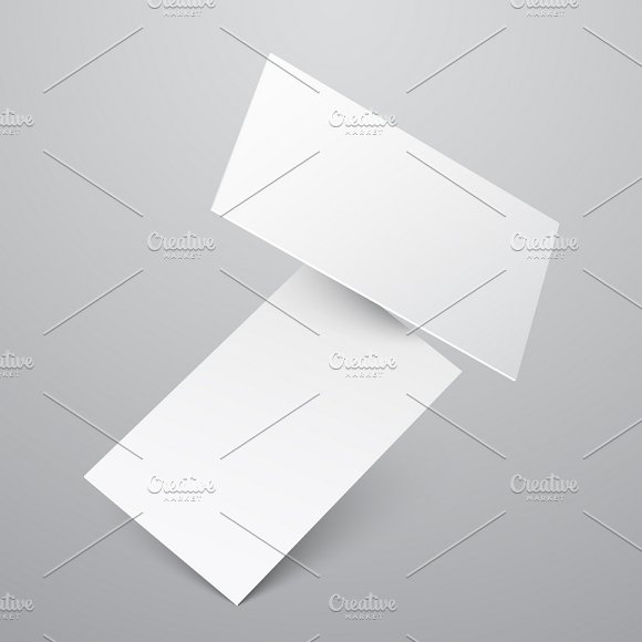 Falling Blank White Business Cards