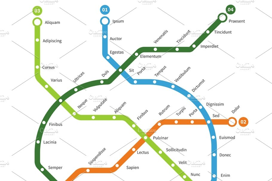 Creative Subway Map.Metro Map Vector Template