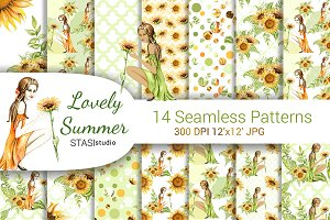 Watercolor Summer Seamless Patterns
