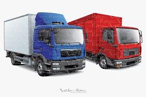 Two European Box Trucks