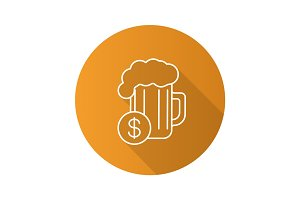 Buy beer flat linear long shadow icon