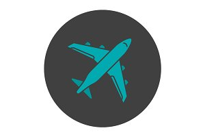 Plane glyph color icon