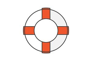 Life ring color icon